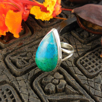 Chrysocolla Sterling Silver Ring - Size 9.5