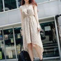 Lovely Round Neck Chiffon Pattern Sleeveless Asymmetrical Dress 2 Colors