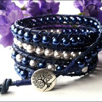 Navy Blue, Silver, Glass Pearl Tree of Life Navy Leather Wrap Bracelet