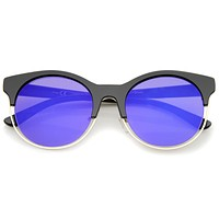 Round Mirrored Flat Lens Half Frame Sunglasses A457