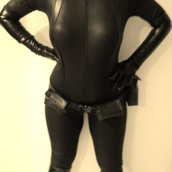 MJCREATION COSTUME cosplay new catwoman inspiration  catsuit belt and gloves  made to order