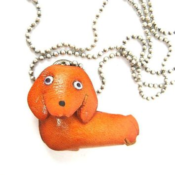 Faux Leather Dachshund Puppy Dog Animal Pendant Necklace with Mobile Strap