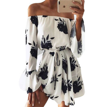 Ermonn Women Summer 2017 Beach Floral Boho Dress Loose Printing Sexy Off the Shoulder Flare Sleeve Empire Flash Neck Mini Dress