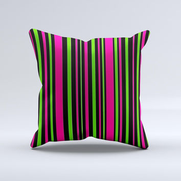 Pink & Green Striped Ink-Fuzed Decorative Throw Pillow