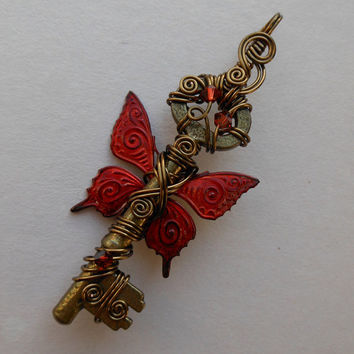Red Butterfly Winged Key Pendant -- Red/Orange Flame Inked Patterned Butterfly Winged Wire Wrapped Antique Brass Key, Swarovski Crystals