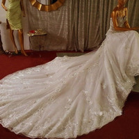 A-line Royal Long Sweetheart Wedding Dress Appliques Beads