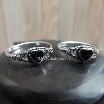 Onyx Stone Ring 925 Genuine Sterling Silver Heart Shape Size 6 7 8 Small Knuckle Rings July Leo Natural Black Birthstone Hearts Body Jewelry