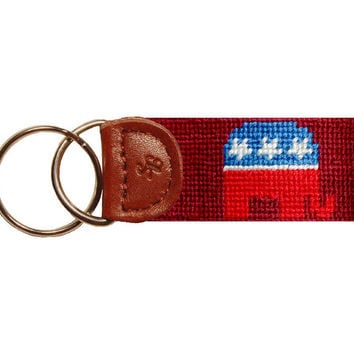 Republican Needlepoint Key Fob in Garnet by Smathers & Branson