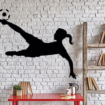 Wall Decal Football Soccer Girl Sport Home Interior Decor Unique Gift z4042