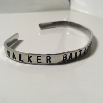 Walker Bait Zombies Silver Bracelet Cuff Hand Stamped Secret Message Inside Custom Personalized Unisex Men Women Birthday Fathers Day Gift