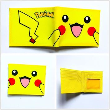 Lovely Pikachu Wallets Kawaii Cartoon Pocket Monster Ball  Go Purse Card Holder Bags Gift Kids PVC Short Wallet W980QKawaii Pokemon go  AT_89_9