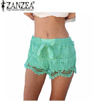 New Arrival 2015 Summer Women Shorts Casual Lace Drawstring Hollow Out Shorts Solid Sweet Style Shorts For Womens Plus Size