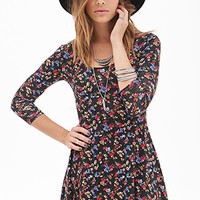 FOREVER 21 Floral Print A-Line Dress Black/Red