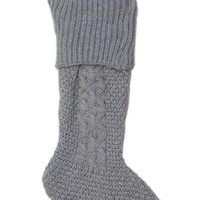 Cable Knit Christmas Stocking Grey