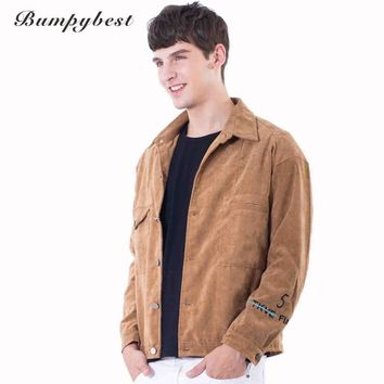 Men Collar Outerwear Solid  Retro Jacket Single flight jacket Style High quality polyester