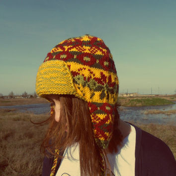 FREE SHIPPING Knit Hat, Ear Flap Hat,Winter Hat Ear Flaps, Winter Hat Woman, Ushanka Hat, Multicolored Hat, Wool Hat, Yellow, Green, Burguny