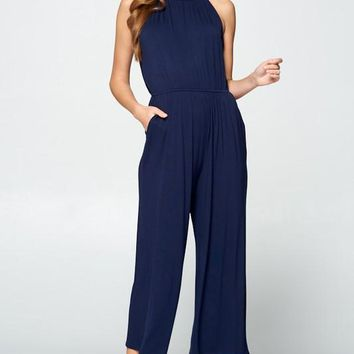 Solid Jersey High Neck Jumpsuit