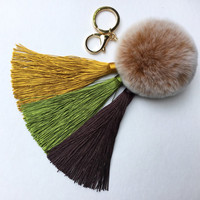 Gold/Brown Gradient Tassel Handbag Charm Fur Pom Pom ball keychain