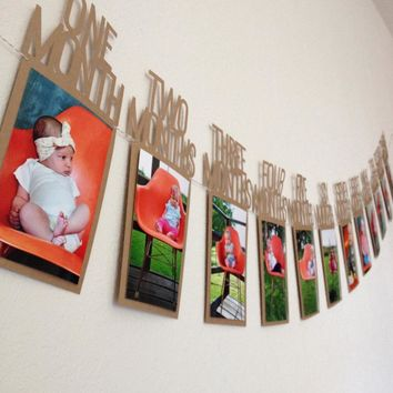 DIY Baby Photo Banner First Birthday Decorations 1-12 Months Photo Banner Monthly Photo Wall wedding Party Banners Decoration