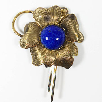 Vintage 1960s 1970s Gold Tone Floral Brooch, Modernist Etched Five Petal Flower with Blue Center Cabochon