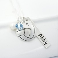 Volleyball Necklace with Personalized Bar and School Color Crystals