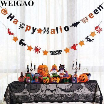 WEIGAO Pumpkins Witch Skull Paper Flags Bunting Banner Garlands Halloween Decoration Spiderweb Tablecloth Table Cover Supplies