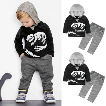 Free Shipping 2017 Baby Girls Clothes Toddler Kids Baby Girls Boys Dinosaur Bones Clothes Set Hooded Tops+Pants Outfit #ES