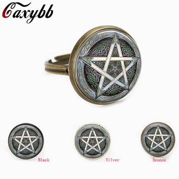 free shipping gray Pentagram Wicca charms Wiccan Occult personality glass Jewelry gift for send friend adjustable rings