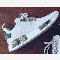 ADIDAS NMD white contrast camouflage green Casual Sports Shoes H-AA-SDDSL-KHZHXMKH
