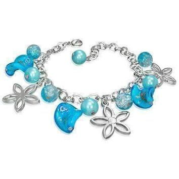 Daisy Chain Lamp Work Glass Bead Charm Bracelet ~ Three Colors to Choose