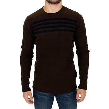 Costume National Brown striped crewneck sweater