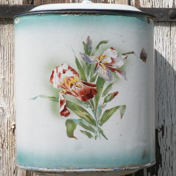 SALE-15% OFF Large floral lavabo wall fountain, enamelware, french lavabo, vintage enamel, antique lavabo, French vintage chic. enamelware.