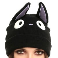 Kiki's Delivery Service Black Kitty Cat Jiji Miyazaki Ghibli Themed Knit Beanie