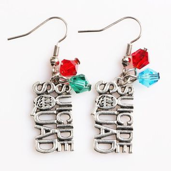 Suicide Squad Harley Quinn Initial Logo Earrings with Crystals Movie Cosplay Fashion Jewelry