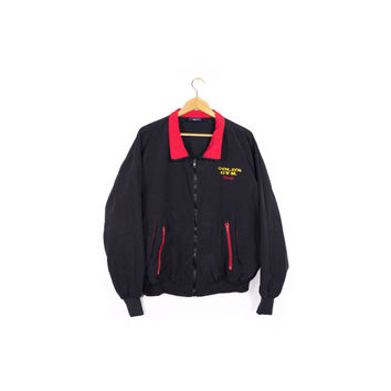 vintage GOLD'S GYM windbreaker jacket - 80s - 90s - embroidered logo - bomber - black + red - M - L