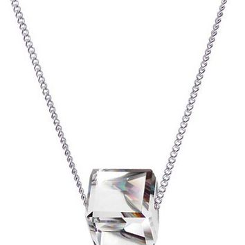 Crystal Square Cute Cube Pendant Necklace
