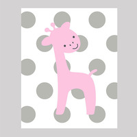 Instant Download Pink Giraffe on Gray Dots Print CUSTOM COLORS Animals digital nursery decor art baby room decor print digital download 8x10