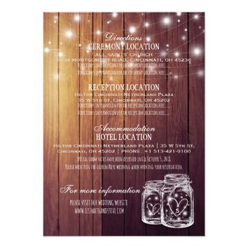 Rustic Wood Mason Jar String Lights Wedding Detail Card
