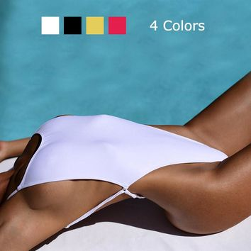 Sexy Thong Swimwear Women One Piece Swimsuit Triangle Backless Bathing Suit High Cut out Beach Wear Bodysuit Monokini 4 Colors