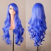 """Outop 32"""" Long Hair Heat Resistant Spiral Curly Cosplay Wig Blue"""