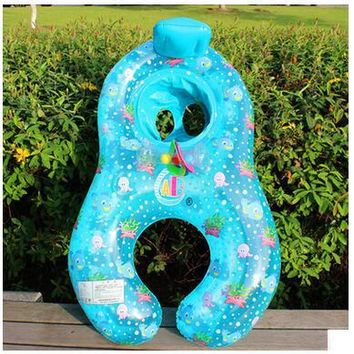 Safe Inflatable Mother Baby Swim Float Ring Kids Seat Double Person Swimming Pool Flamingo Donut Swan Newborn Swimming Ring