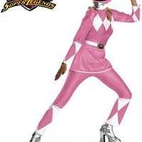 New Adult Womens 12-14 Deluxe Pink Power Ranger Costume