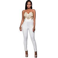 RB80328 New Style Rompers Womens Jumpsuit Off-Shoulder White Gold Embellished Strapless Bodycon Jumpsuit 2016 Bodysuit Women