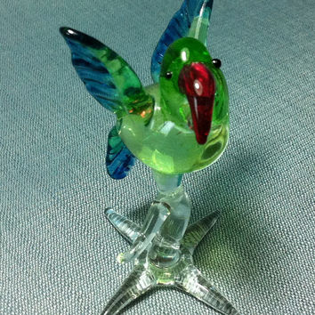 Hand Blown Glass Parrot Bird Animal Cute Green Blue Red Figurine Miniature Statue Decoration Collectible Small Tiny Craft Hand Painted