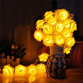 8 Color Night Light 20 x LED Novelty Rose Flower Fairy String Lights Wedding Garden Party Christmas Decoration Nightlight