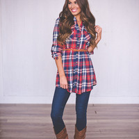 BELTED PLAID DRESS-RED
