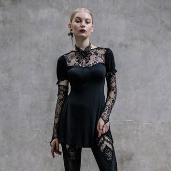 Beautiful Gothic Lace Sleeved Top w/Finger Loops