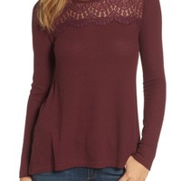 Lucky Brand Lace Yoke Thermal Top | Nordstrom