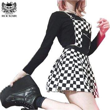 Rocksir Punk Harajuku Black White Plaid Skirts Women Sexy Chains Strap Backless Mini Pleated Skirt Casual High Waist Party Skirt