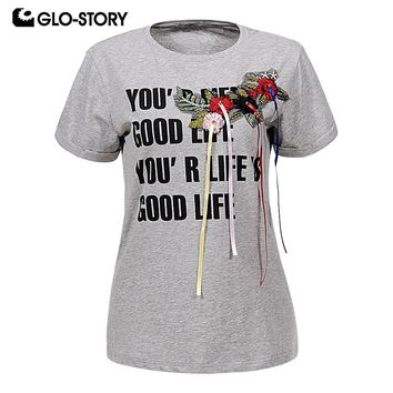 GLO-STORY Women's 2018 Floral Applique Short Sleeve Tshirt Women Punk Fashion Casaul Streetwear Cotton Tee shirts Tops WPO-6360
